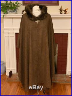 Dark Brown and Beige Plaid Wool Hooded Cape Tartan Fur Trimmed Hood Medieval Clasp READY TO SHIP Free Domestic Shipping