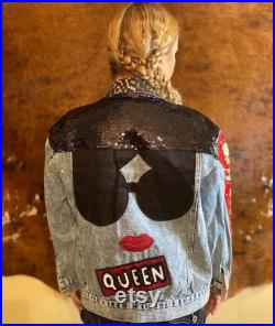 Denim Jacket, Leopard Collar, Sequin, Embroidered Patches, Beautiful Details, Good Vibes, Oversized Loose Fit Large Blue Jean Jacket