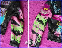 Disney's Poison one of a kind hand painted vintage leather biker jacket size small medium (38 chest)