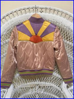 Dusty Rose Rising Sun Jacket Mauve Quilted 70s style satin bomber Jacket lightweight gold and purple seventies jacket 80s