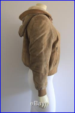 Early 80's Vintage Tan Suede Top Stitch Shearling Lining Hooded 'Thriller' Bomber Jacket