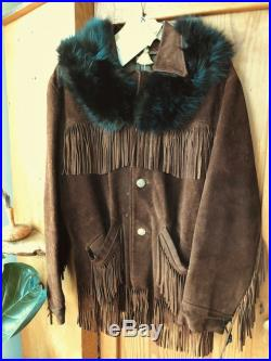 Echo-1970's Heavy Suede Fringed Jacket with Vintage National Airline Buttons, Black Real Fur Collar, and Vintage Knights Templar Sash Pin