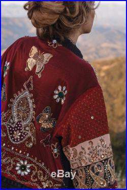 Embellished Indian Sari Butterfly Jacket Size Small