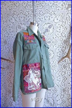 Embroidered Indian Fabric Patched Vintage Army Jacket