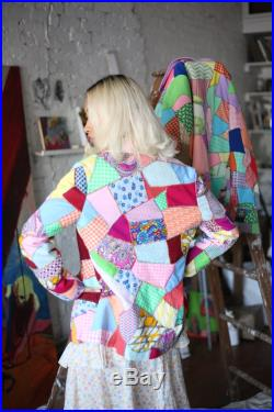 Extra fun vintage 1960's multicolored abstract psychedelic quilted patchwork crazy quilt handmade button front blazer jacket coat