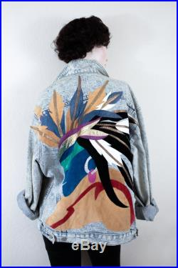 Extremely RARE Vintage Acid Wash Jean Jacket with Leather Indian Chief Southwestern Applique Detail, AUGUSTINA Taos New Mexico Size M L
