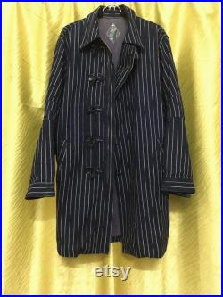 FLAPPY Railroad Hickory Stripes Worker Long Jacket Sz 2 Made in Japan