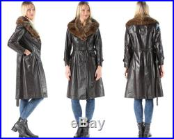 Foxy Leather Trench Coat 70s Double Breasted 1970s Vintage Fox Fur Collar Long Brown Belted Autumn Coat Steampunk Punk Luxury Coat . Medium
