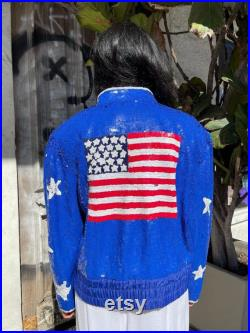 Fun 1980s American Flag Sequin Bomber Jacket bright