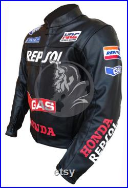 GAS HRC MotoGP Customized Biker Leather Jacket with CE Approved Armor Motorcycle Jacket with Protection