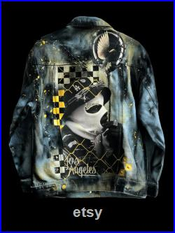 Gangster unique jacket with handmade design jeans jacket unisex gold reflective style