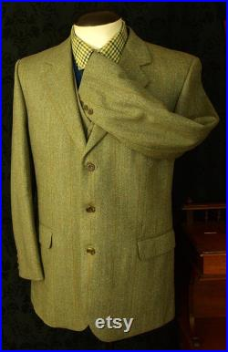 Good Mens John G Hardy with Royal Warrant Vintage Tweed Jacket and Waistcoat Set in a Size 40 inch Medium