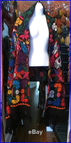 HUGE Embroidered Mexican Shawl withFringe