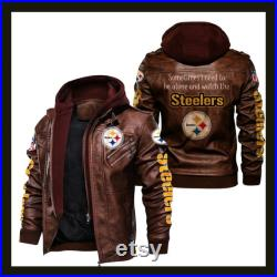 HVKC407 Pittsburgh Steelers NFL Team Leather Jacket For Men and Women