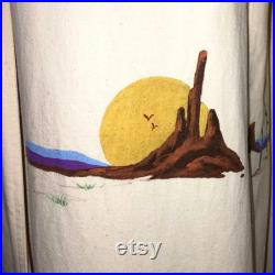 Hamilton Long Canvas Duster Coat Artists Work on Front and Back. Size Small Fits like Medium
