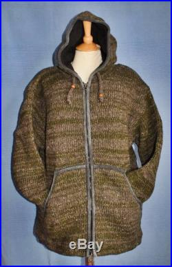 Hand knitted Khaki and Natural Wool Outdoors Bush Craft Fisherman Festival Jacket