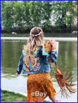 Hand painted custom Hippie Boho Coachella denim jacket (its an example of my work, please contact me before payment )