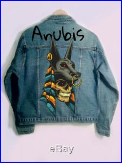 Hand painted denim jacket Anubis, Egypt