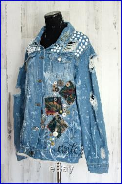 Hand painted denim jacket Punk jacket punk rock painted jacket Hand lettering Distressed Clothing Festival Distressed 1X 2X