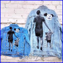 Hand painted jacket, Denim jackets for dad and son, Jean jacket, Pop art jacket, hand painted jean jacket, father's day, birthday gift