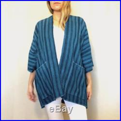 Handmade African Striped Indigo Natural Cotton Jacket with Pockets One of a Kind