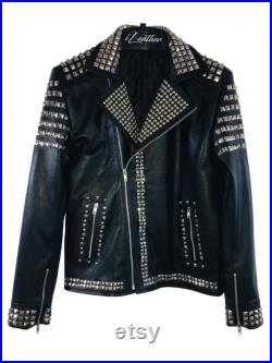 Handmade Black Colour Silver Punk Studded Gothic Fashionable Metal Work Real Leather Jacket