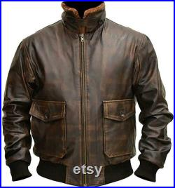 Handmade G1 Military Bomber Jacket with Soft Napa Leather Original G1 Navy Jacket with Fur