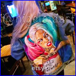 Harley Quinn from Suicide Squad, jean jacket, painted denim jacket, hand painted denim jacket, custom denim jacket, personalized jacket