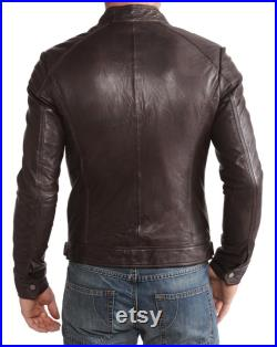 High Glamor Men's Leather Jacket Stylish Handmade Motorcycle Bomber Biker Genuine Lambskin Leather Jacket for men Brown