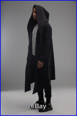 Hooded futuristic mantle jacket, gothic casual matching couple outfit, black loose unisex hood cardigan, oversize asymmetrical sci fi cloak