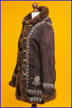 Incredibly rare Vintage 1970's Woodstock Shearling Sheepskin Afghan Hippie Coat With Hood . VIntage coat with floral emboidery. Penny Lane