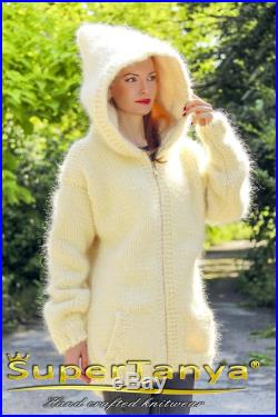 Ivory mohair cardigan with zipper by SuperTanya
