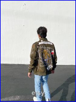 Japan inspired painted drill Jacket (NewithSize M) Perfect Personalized for Fashion Lovers