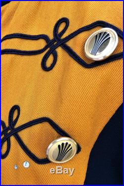 Jill-Vintage Majorette Jacket in Midnight Blue, Saffron Yellow, White with Gold Tone Vintage Continental Airlines Buttons, Rhinestones