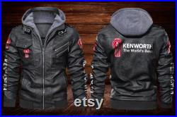 Kenworth Leather Hoodie Jacket For Vehicle Fans And Enthusiasts With Machine Engines-LJC57