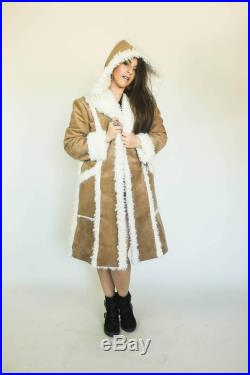 LLAMA MAMA Hooded Coat in Vegan Faux Leather w Sherpa Lining by Sublime Designs