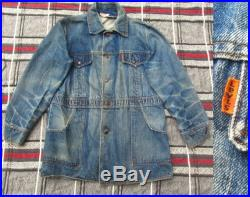 Large 70s Levis Orange Tab Denim Chore Coat Jean Jacket, 1970s, Ranch Barn, Roper, Western, Perfect Wear and Fade, Hige Faded XL