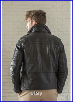 Leather Jacket For Men, Mens Lamb Leather Jacket Coat Winter Bomber with Removable Wind Blocker Collar, Leather Anniversary Gifts For Men