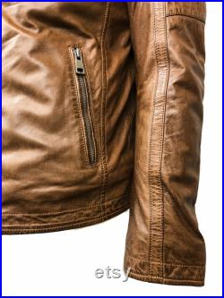 Leather Jacket With Removable Collar, Cognac Leather Jacket Men, Gifts For Men, Brown Leather Jacket, Lamb Leather Jacket, Lifetime Warranty