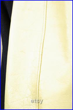 Leather Sleeve Wool Lettermen's Jacket Late 60s Early 70s School Sports Jacket Navy and Yellow with Cream Sleeves