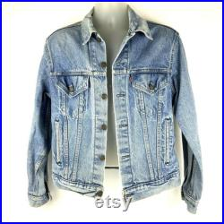 Levis Denim Trucker Jean Jacket Tag Size 42 Chest 38 Type III Faded Light Stonewash Vintage 1980s Made in USA