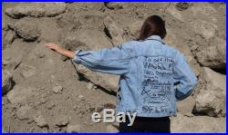 Life Quote Hand Painted Jeans Jacket