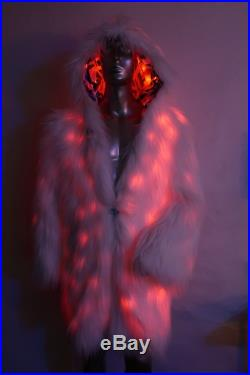 Light up Faux Fur Coat Burning Man Coat -New 2019 LUC and Black Rock City's legendary artist FreeRolando 3 Ready To Ship RGB LEDs