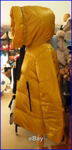 Lightweight and Warm A Gorgeous Golden Yellow Down Filled Parka Stop the Winter Chills in Style