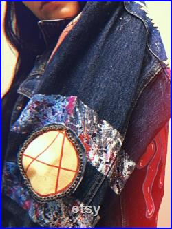 Lil Peep Hand painted jeans jacket , Embellished jean jacket Gift Custom Denim Jacket Jacket with painting Exclusive work fan art