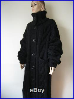 Made to order New hand knitted extra thick black cardigan coat mohair alpaca 5 strands size Xl