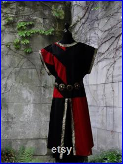 Medieval Weapon Skirt Tunic Red Black Stripe Coat of Arms Skirt