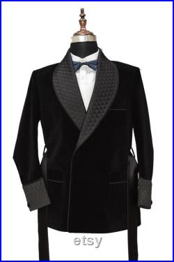 Men Black Smoking Jackets Belted Quilted Lapel Patch Pockets Dinner Party Wear Coats