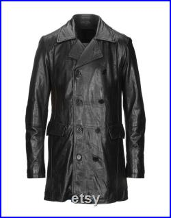 Men Genuine Lambskin Trench Coat Black Real Leather Pea Blazer Designer Double Breasted Long Jacket-LE-224
