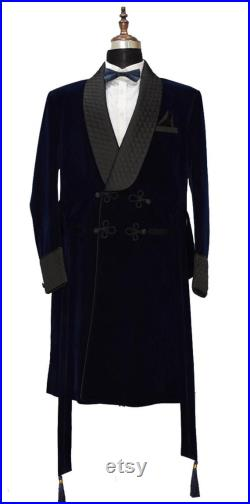 Men Long Coats Men Quilted Jackets Smoking Jacket Robe Navy Blue Hosting Evening Men Dinner Jackets Quality Robes Perfect Gift For Hiim